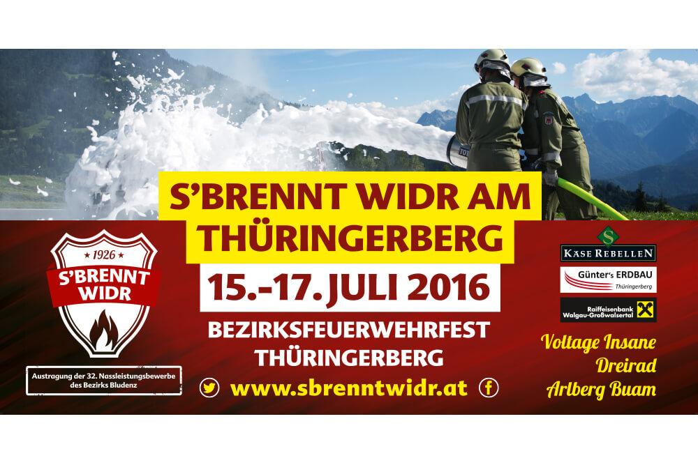 """Werbeplane """"s'brennt widr am Thüringerberg"""""""